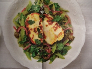 Fried halloumi with runner bean salad