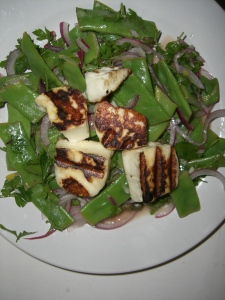 Fried halloumi with runner bean salad! Nailed it!