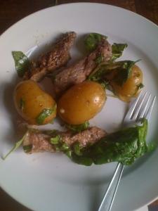 Unsmoked ribeye steak salad