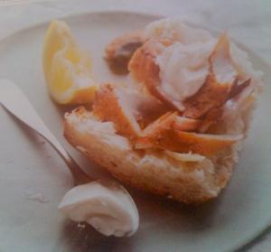Hot smoked mackerel sandwich