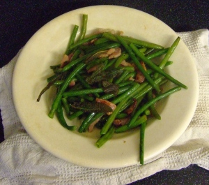 Frozen beans with sage and bacon