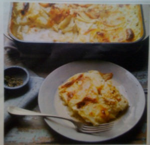 Potato and celeriac gratin with juniper