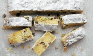Orange and pistachio stollen bars