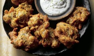 Spicy okra fritters